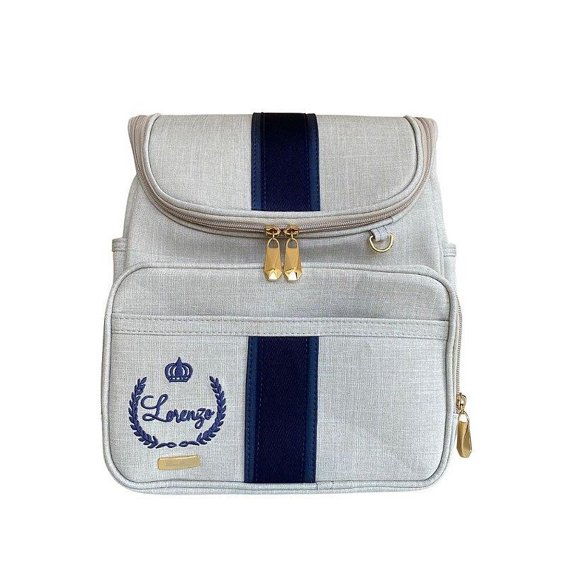 Mochila Maternidade Bag Linho cru com azul marinho