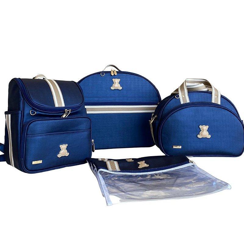 Kit Maternidade em Azul Marinho com Fita bicolor beg