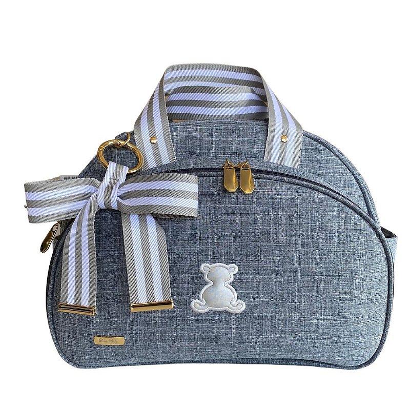 Bolsa Maternidade Média Linho cinza com fita bicolor cinza