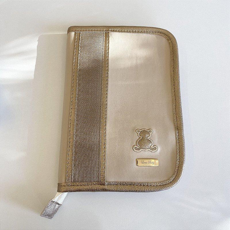 Porta Cartão de Vacina Bege com Ouro