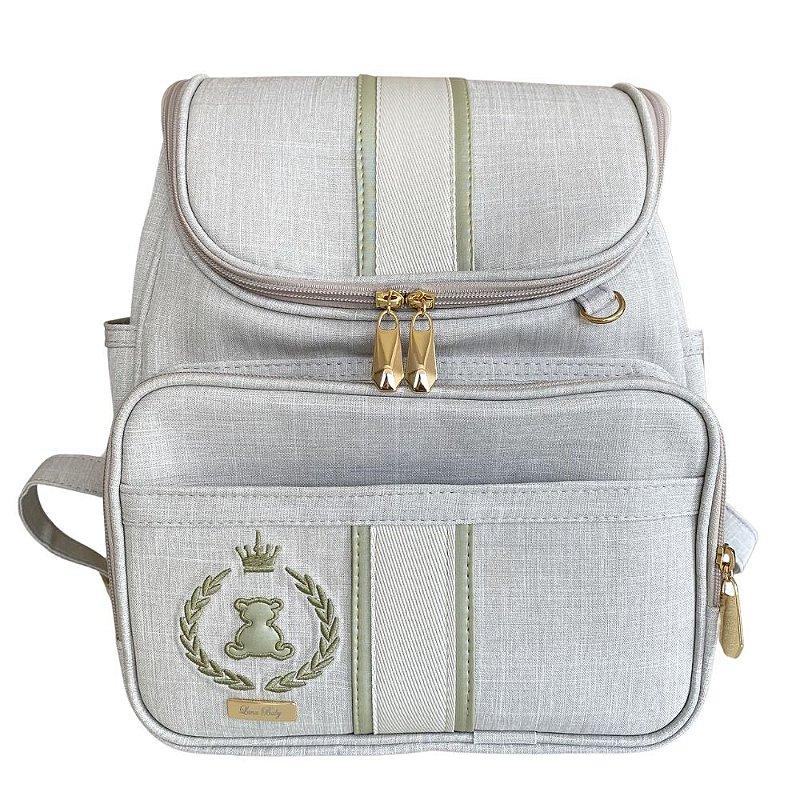 Mochila Maternidade Bag Linho cru com Verde