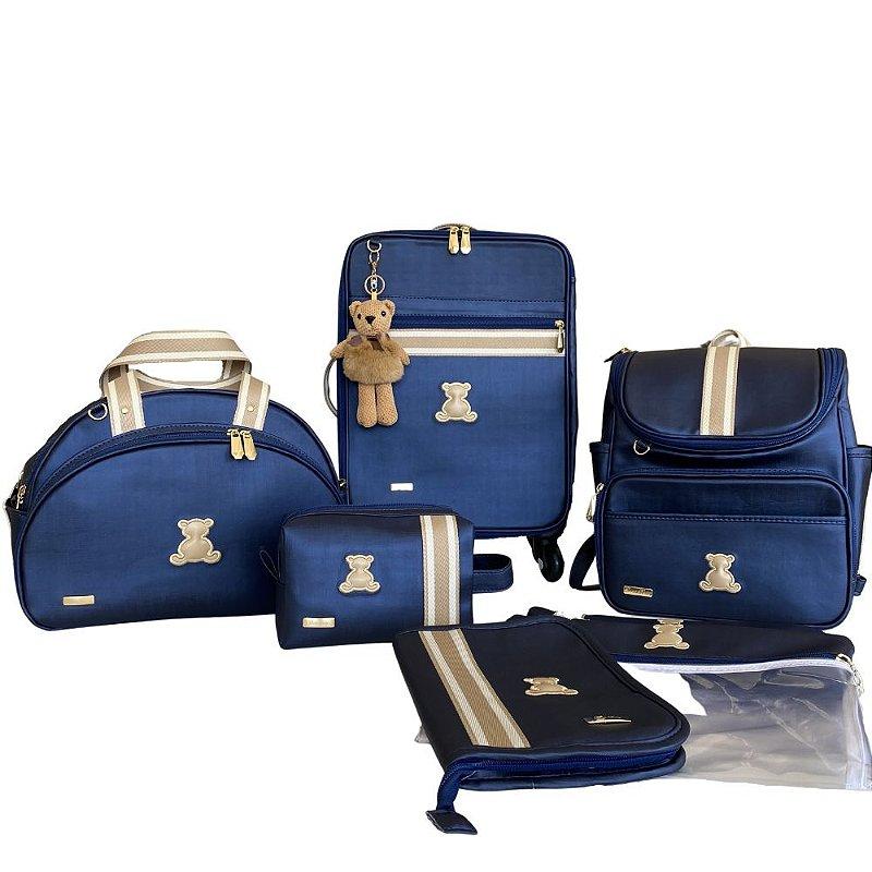 Kit Maternidade Azul com fita Bicolor bege