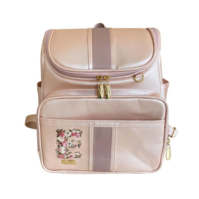 Mochila Maternidade Bag Rosa Perolado com Inicial Floral