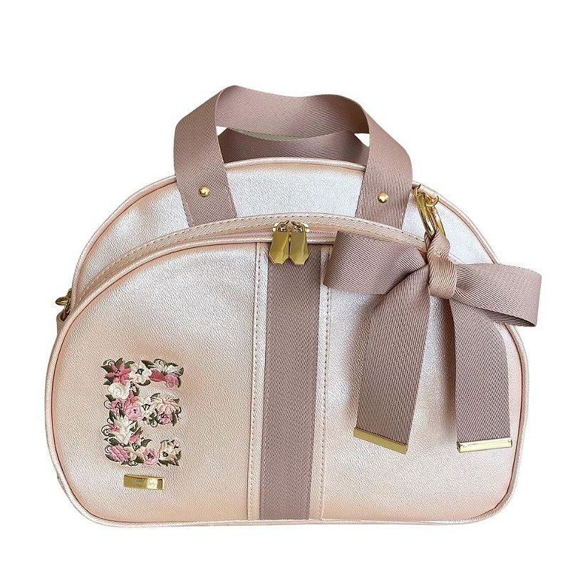 Bolsa Maternidade Média Rosa Perolado com inicial floral