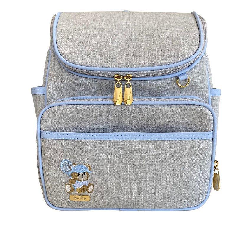 Mochila Maternidade Bag Linho cru com Azul bebê - Urso Tenista