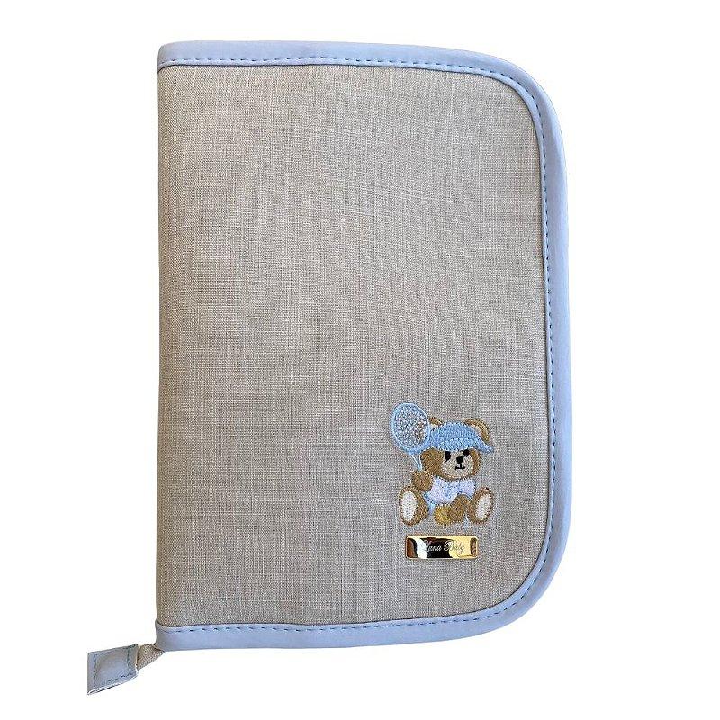 Porta Cartão de Vacina Linho cru com azul bebê - Urso Tenista