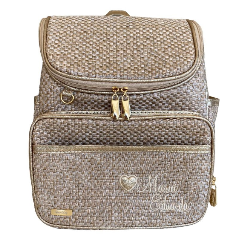 Mochila Maternidade Bag Palha com Ouro - Maria Eduarda