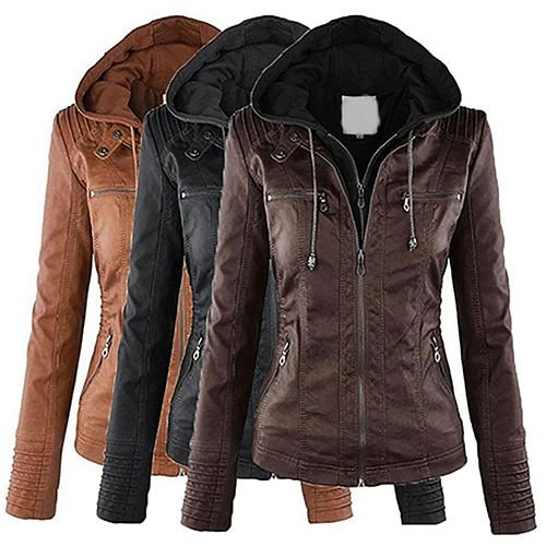 89da26222 jaquete de couro ecológico com capuz e manga longa promoção R 160