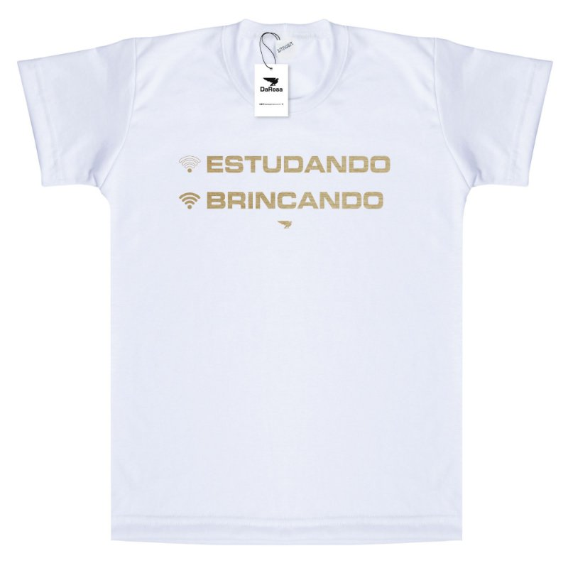 Camiseta DaRosaa Kids, Off Estudando On Brincando
