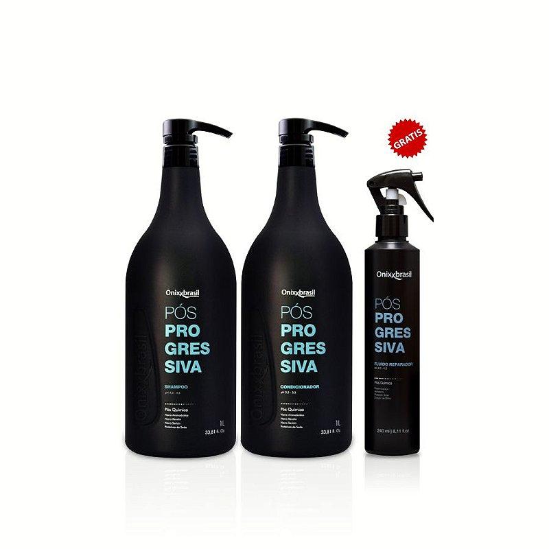 Pós Progressiva - 1L ,kit 3 ITENS,shampoo, condicionador e  GRATÍS FLUIDO ,