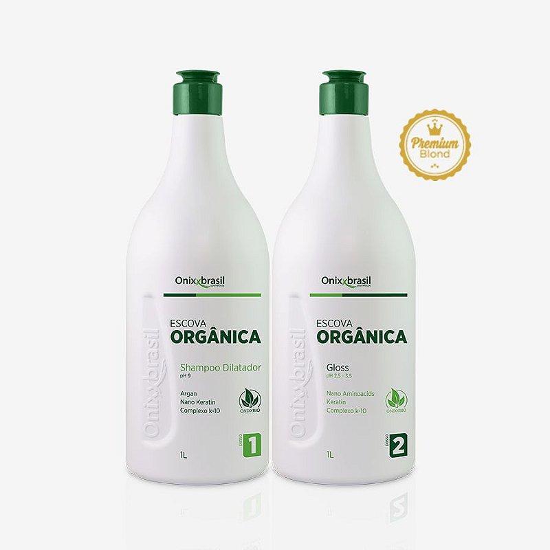 Escova Orgânica - Blond - 1l,Kit composto por produtos naturais e biodegradáveis sendo: Shampoo Dilatador e Gloss Modificador de formas. Promove perfeito alisamento sem mudança de cor nos fios. Não tem cheiro e não prejudica a saúde.