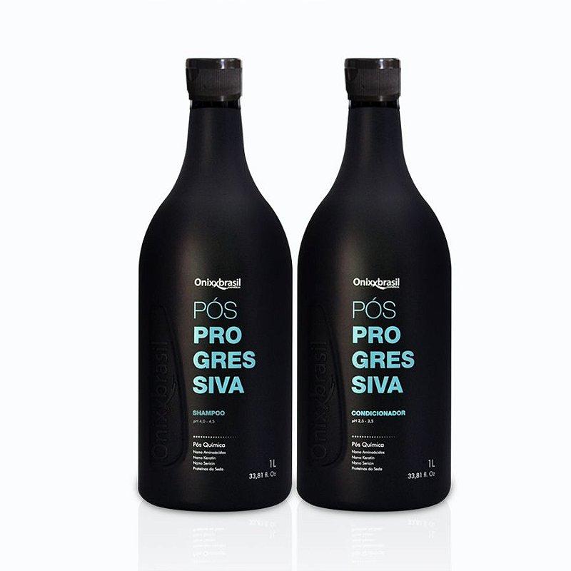 Pós Progressiva, shampoo e condicionador de 1 litro, uso diário para sua casa ou salão, todos tipos de cabelos, limpeza e hidratação