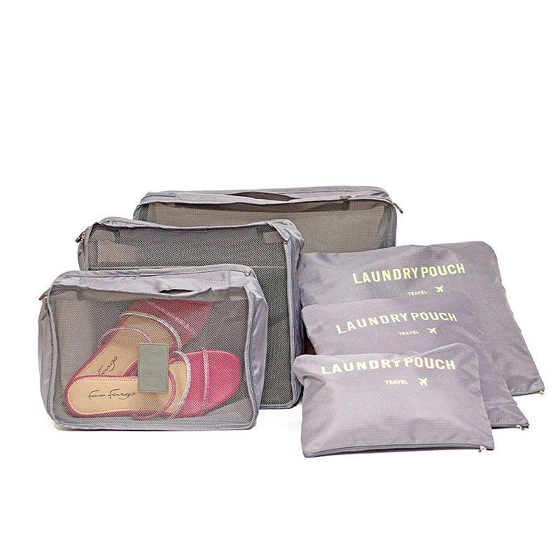 Kit 6 Peças Necessaire Organizadora Mala Viagem Travel Bag