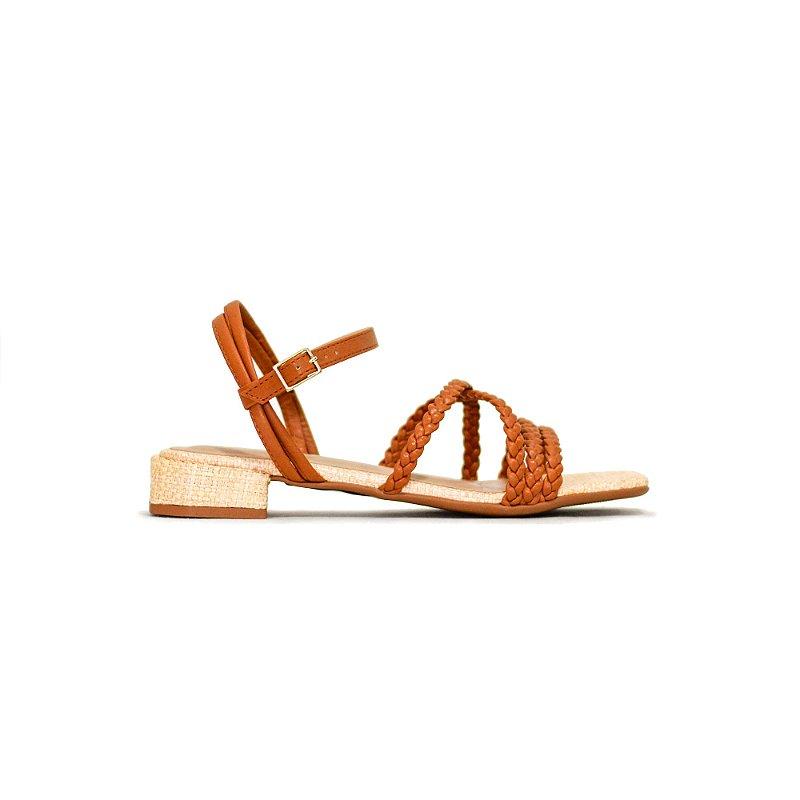 Sandália Jeans de Tiras Trançadas