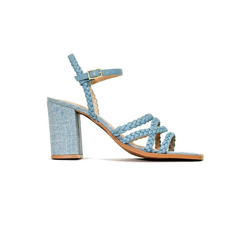 Sandália de Salto Alto Jeans com Tiras Trançadas