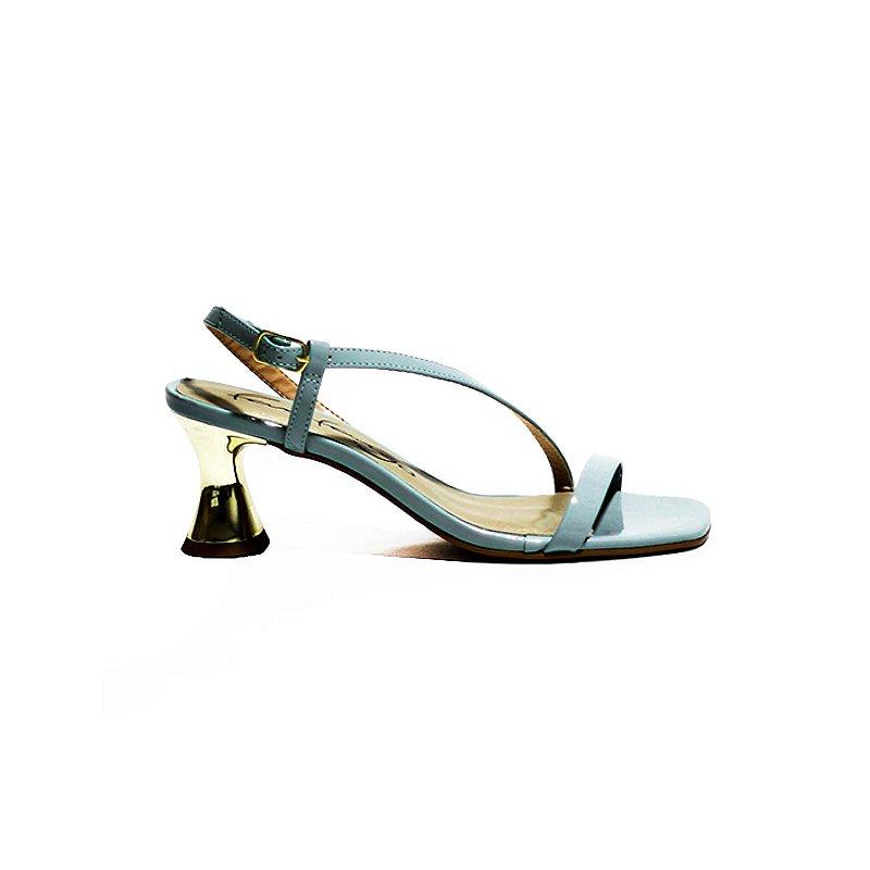 Sandália em Verniz com Salto Ampulheta Ouro
