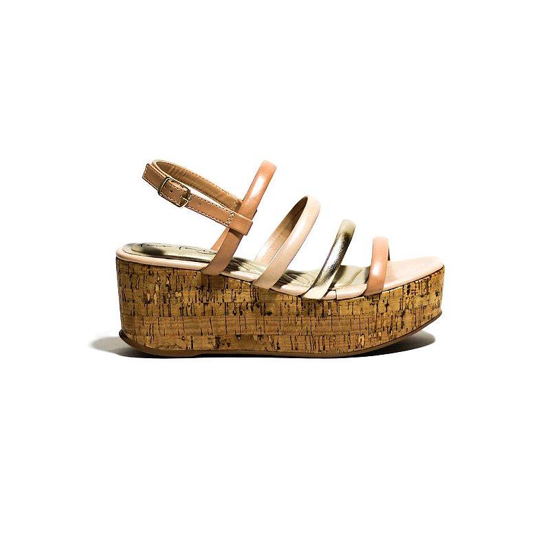 Sandália Plataforma de Cortiça e Tiras Meia Cana