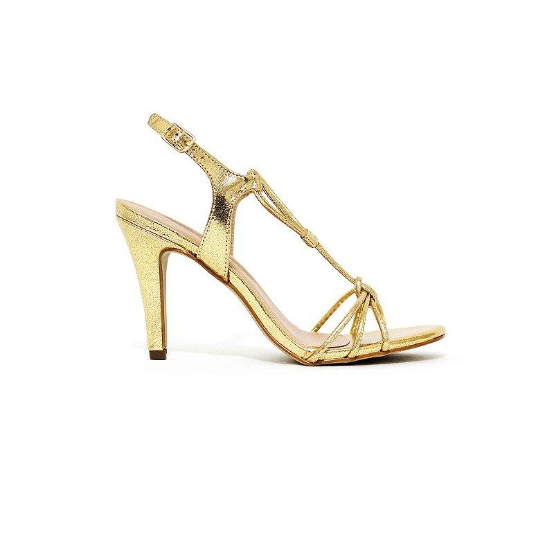 Sandália Metalizada Dourada
