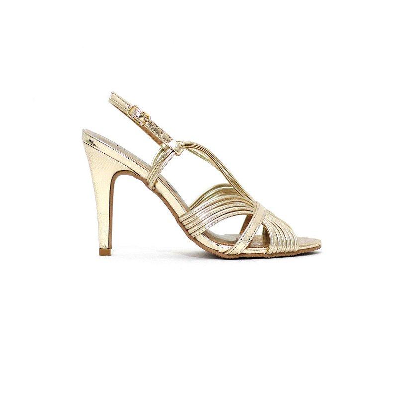 Sandália de Salto Alto Metalizada Dourada
