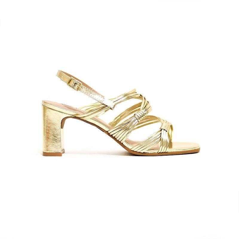 Sandália Metalizada Dourada em Tiras