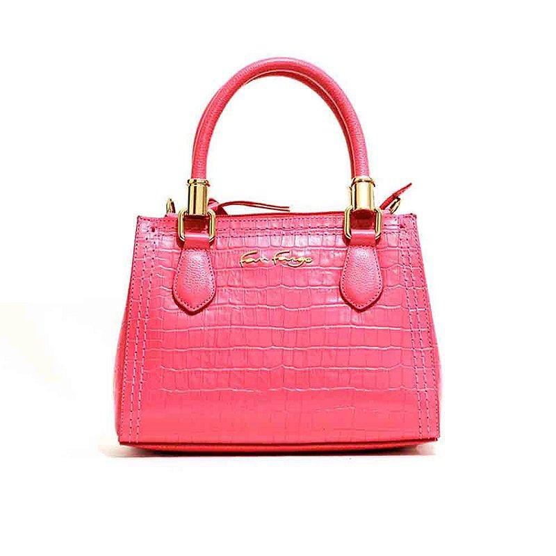 Bolsa Casual em Couro Legítimo Pink