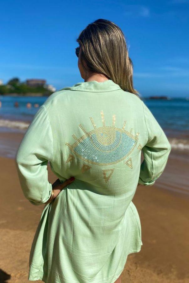 Chemise Mirtilo Beachwear Olho Grego Verde