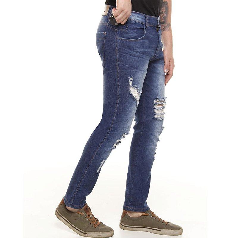 calça jeans prs super skinny destroyed e bigode