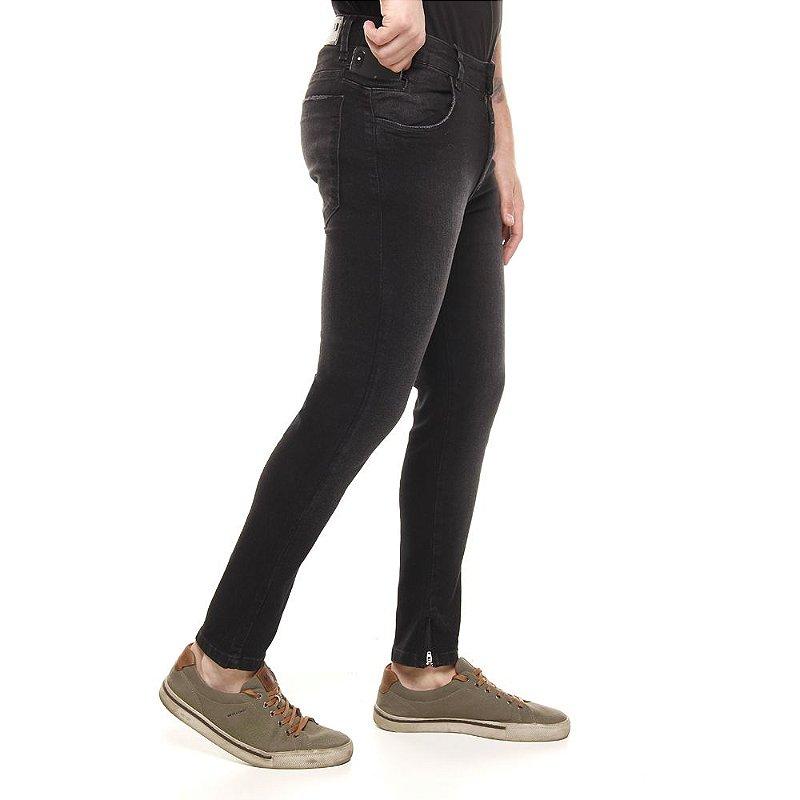calça jeans prs super skinny preto com lixado