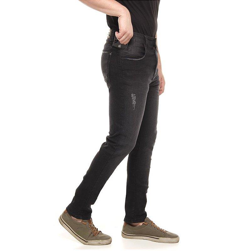 calça jeans prs  skinny preto com lixado puídos e bigode 3D