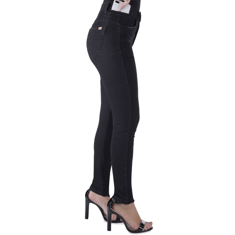 calça jeans prs skinny preta seca barriga