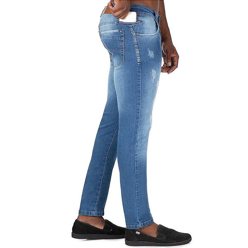 calça jeans prs comfort clara puídos