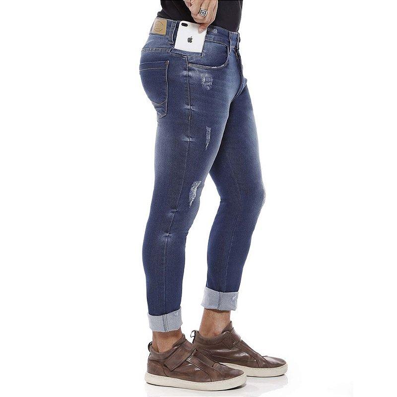 calça jeans prs super skinny puídos
