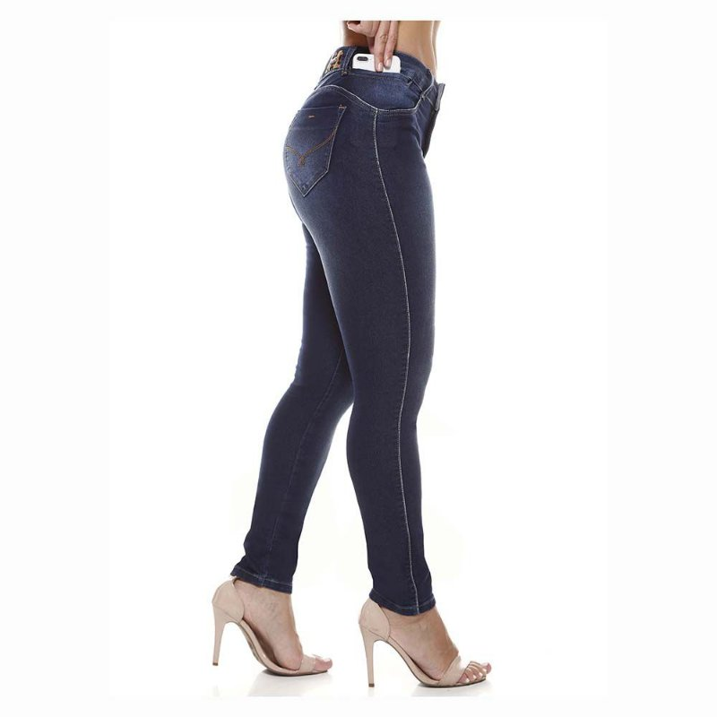 calça jeans prs skinny detalhe onça