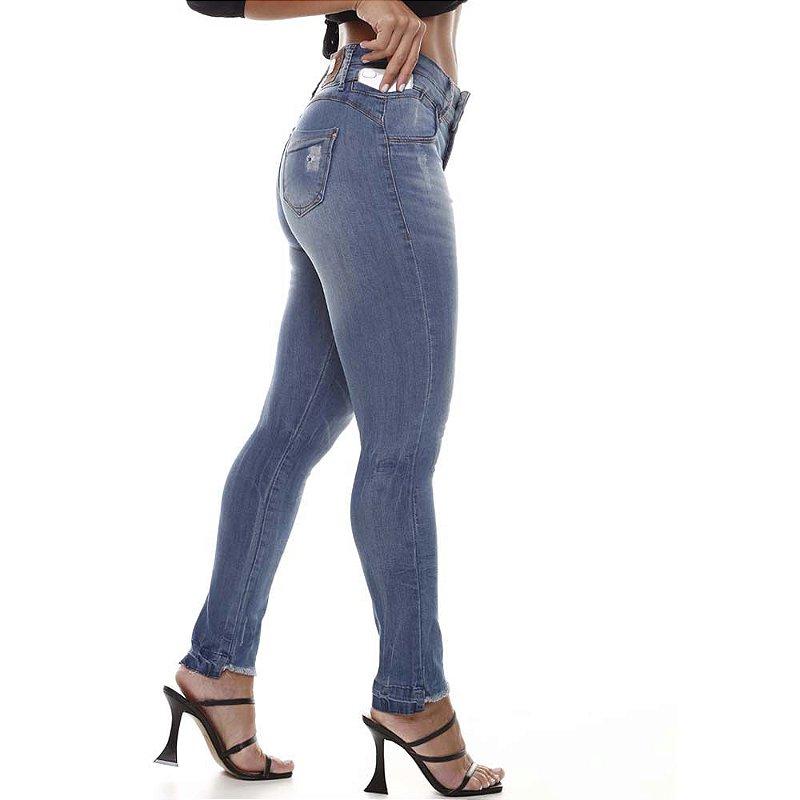 calça jeans prs skinny dois botões