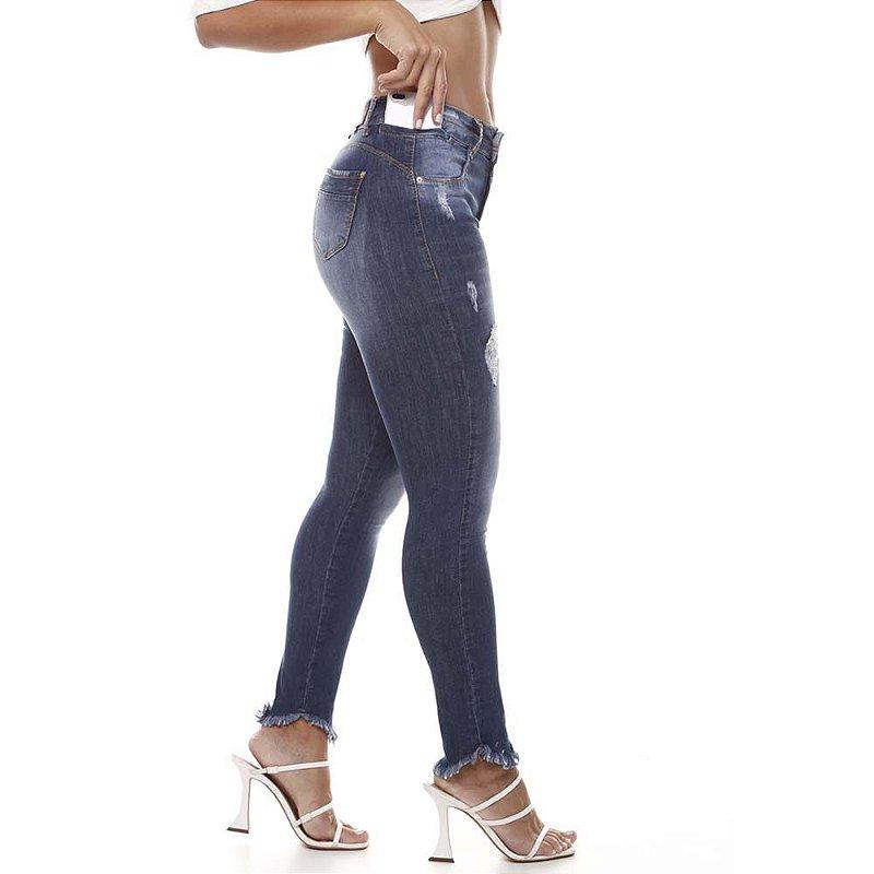 calça jeans prs skinny blue denim
