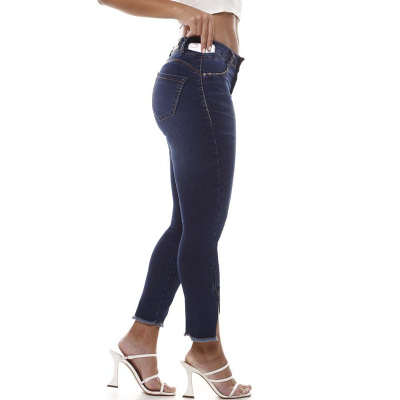 calça jeans prs capri geométrica