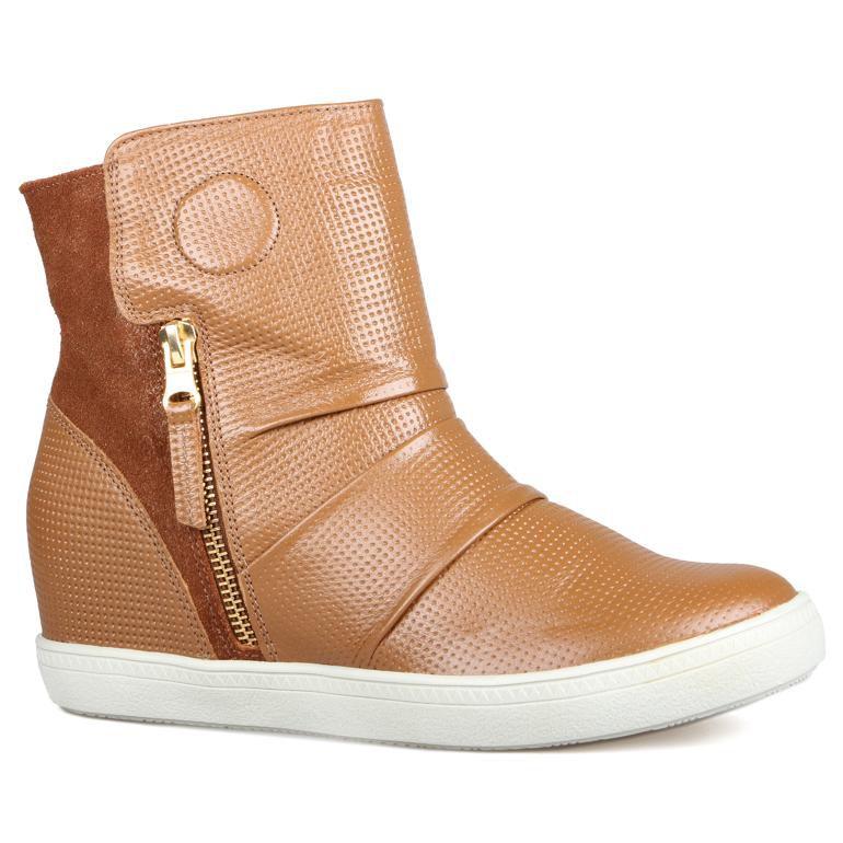 Sneaker Feminino Cris Tênis Bota Caramelo - Couro