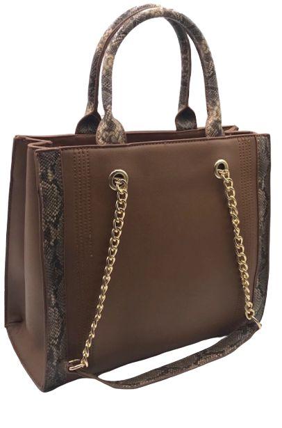 Bolsa Feminina Handbag caramelo com detalhes animal print
