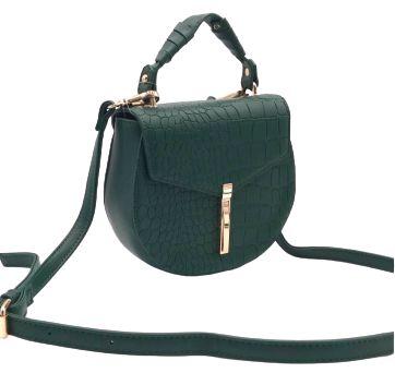 Bolsa pequena Croco Verde com duas alças