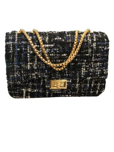 Bolsa de inverno em tecido Tweed preta, branca com detalhes em azul