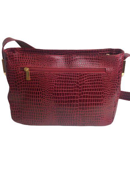 Bolsa Feminina Vermelha Couro Croco - Detalhe em Dourado