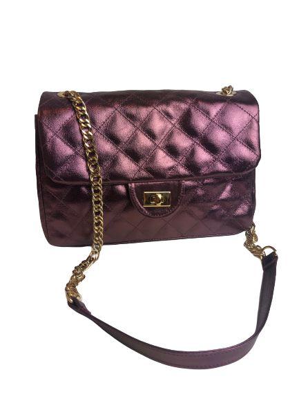 Bolsa Feminina Matelasse Estilo Chanel Metalizada de Couro Roxa