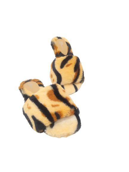 Pantufa Rasteira de Faixa Animal Print de Pêlo