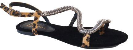 Rasteira de Cobra com Pedraria Preta Cecília