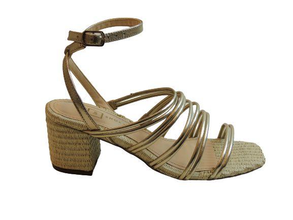 Sandália Salto Médio de Tiras Dourada Brenda