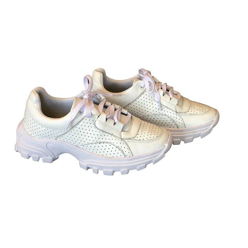 Tênis Sneaker Ferminino Branco de Couro