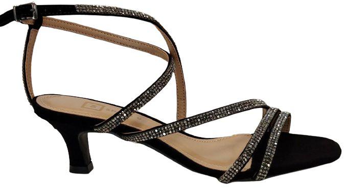 Sandália com Tiras de Brilho Preta Carmen