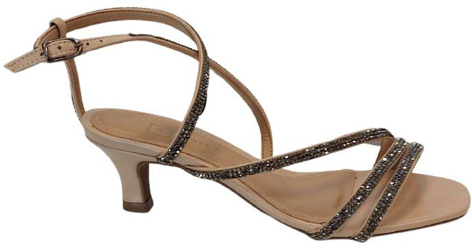 Sandália com Tiras de Brilho Nude Carmen