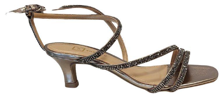Sandália com Tiras de Brilho Prata Velho Carmen