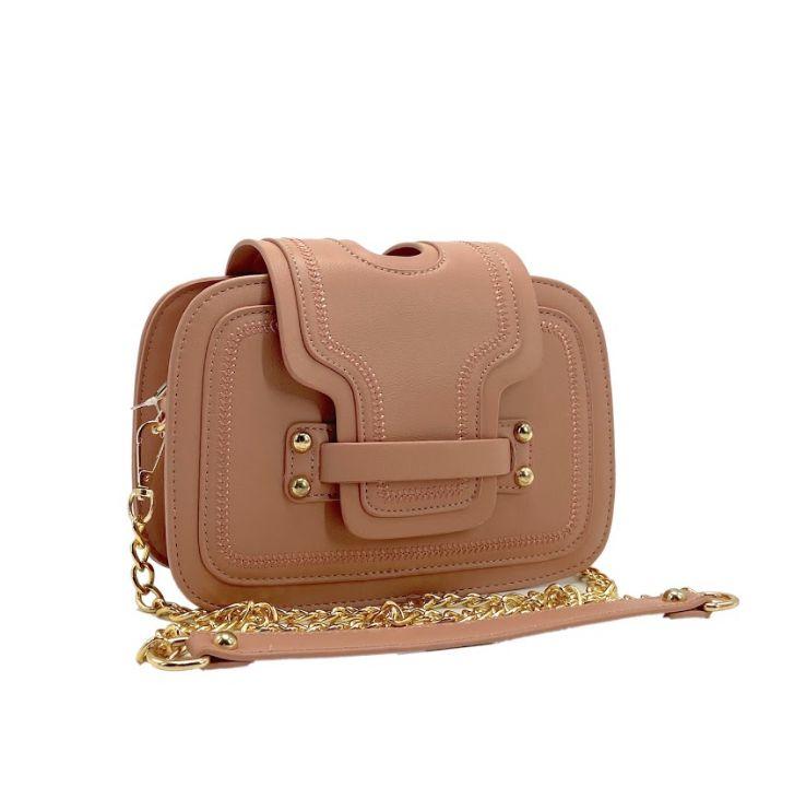 Bolsa Estruturada Rosê Com Detalhes Dourados